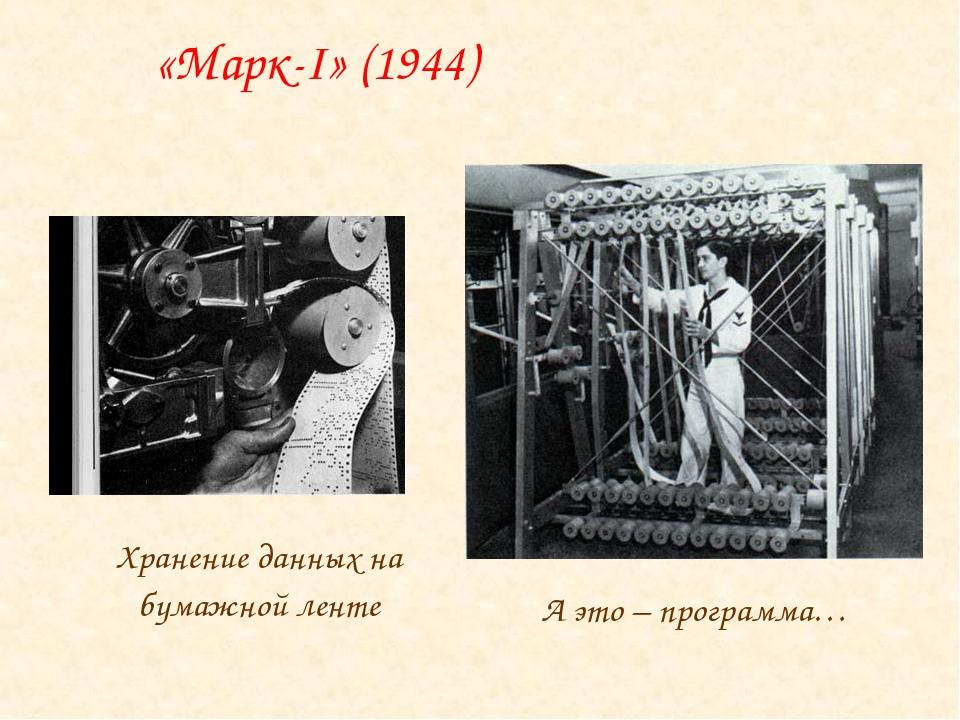 Хранение данных на бумажной ленте А это – программа… «Марк-I» (1944)