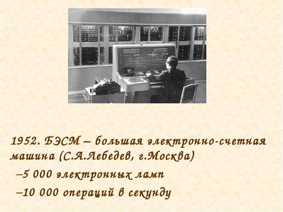 1952. БЭСМ – большая электронно-счетная машина (С.А.Лебедев, г.Москва) 5 000...