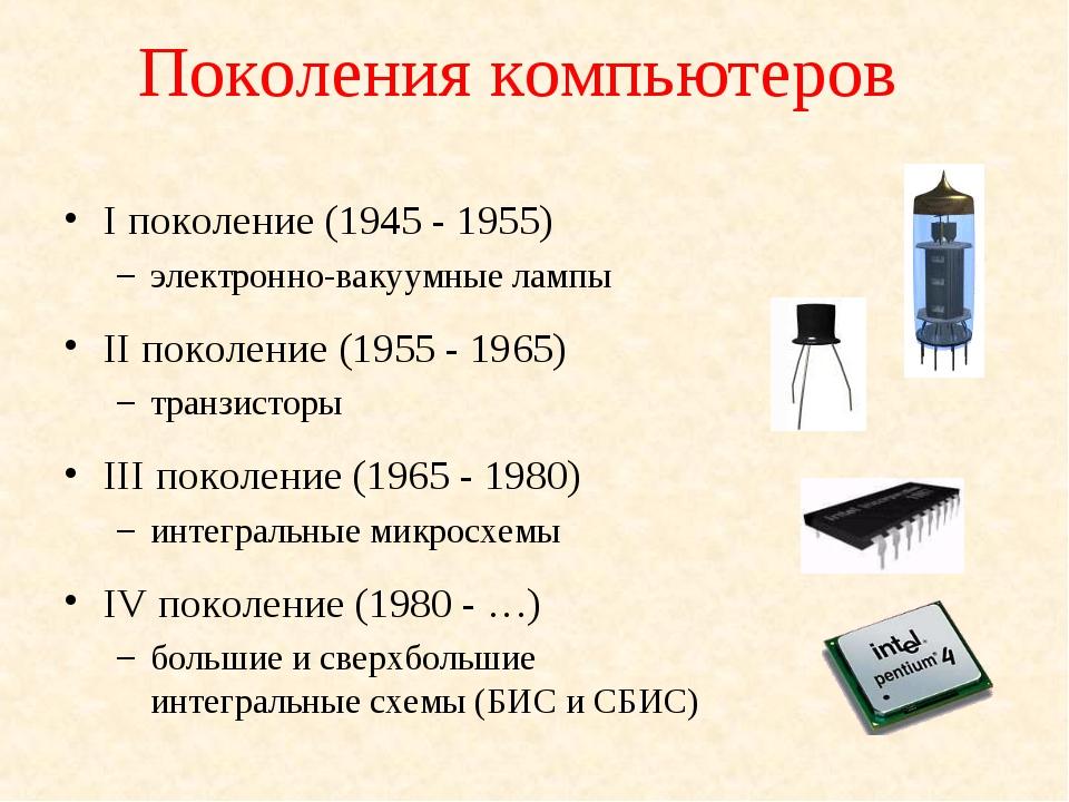 Поколения компьютеров I поколение (1945 - 1955) электронно-вакуумные лампы II...