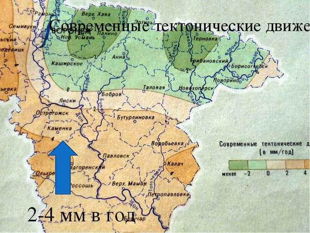 Современные тектонические движения 2-4 мм в год