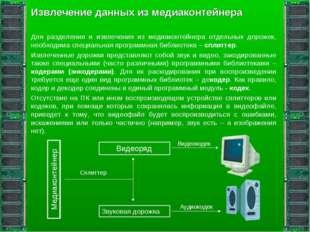 Извлечение данных из медиаконтейнера Для разделения и извлечения из медиаконт