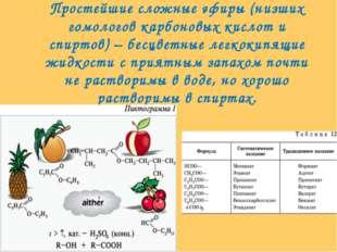 Простейшие сложные эфиры (низших гомологов карбоновых кислот и спиртов) – бес