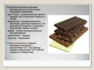 По органолептическим свойствам шоколад должен соответствовать следующим требо