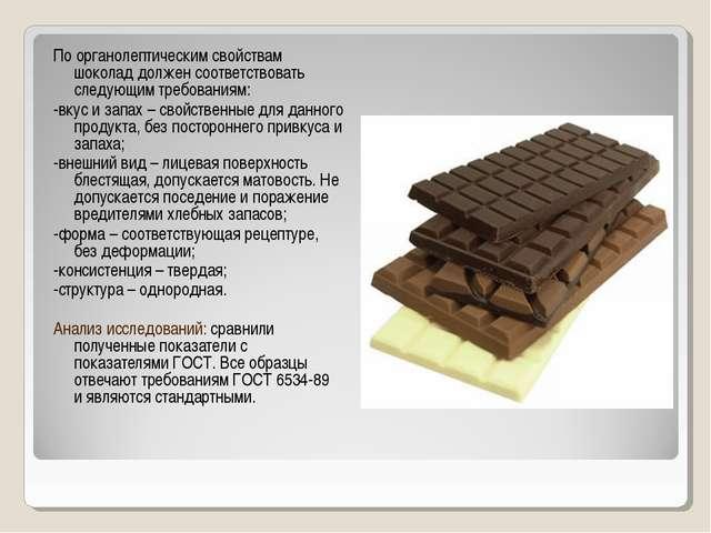 По органолептическим свойствам шоколад должен соответствовать следующим требо...