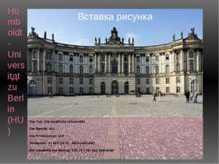 Humboldt-Universitдt zu Berlin (HU) Der Tup: Die staatliche Universität Der B