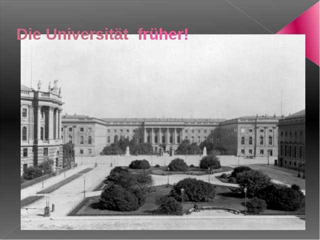 Die Universität früher!