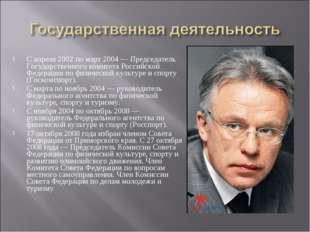 С апреля 2002 по март 2004 — Председатель Государственного комитета Российско
