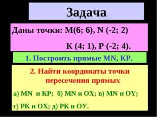 Построить прямые МN, КР. Найти координаты точки пересечения прямых а) МN и КР