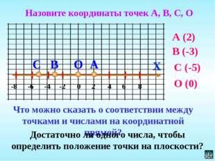 X А 0 -8 -6 -4 -2 2 4 6 8 В С О Назовите координаты точек А, В, С, О Что можн