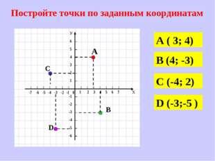 Постройте точки по заданным координатам А ( 3; 4) В (4; -3) С (-4; 2) D (-3;-