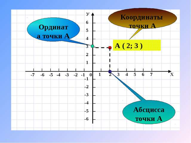 Ордината точки А Координаты точки А Абсцисса точки А А ( 2; 3 )