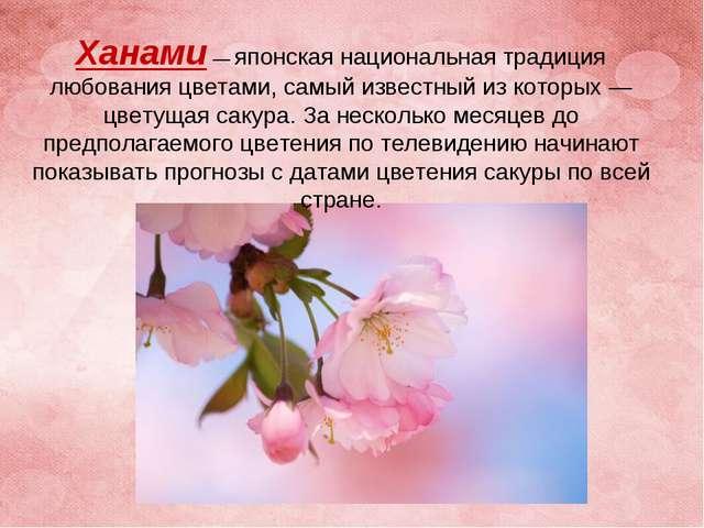Ханами— японская национальная традиция любования цветами, самый известный из...