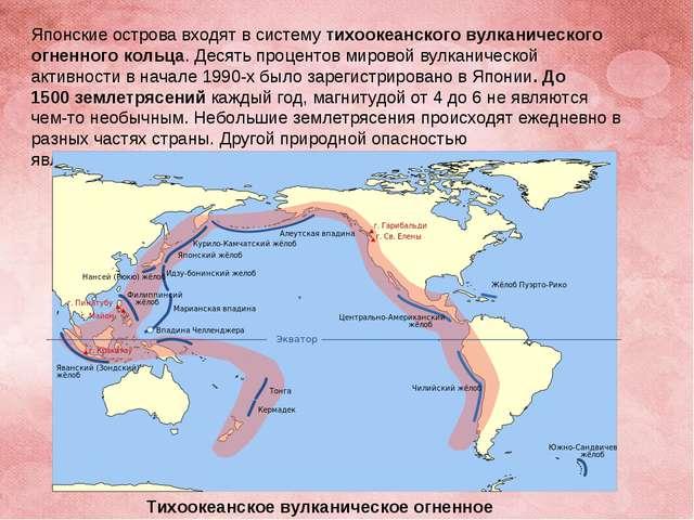 Японские острова входят в системутихоокеанского вулканического огненного кол...