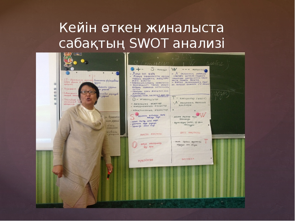 Кейін өткен жиналыста сабақтың SWOT анализі талданды.