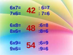 6х7= : 6=7 7х6= : 7=6 6х8= :6=8 8х6= :8=6 6х9= :6=9 9х6= :9=6 42 48 54