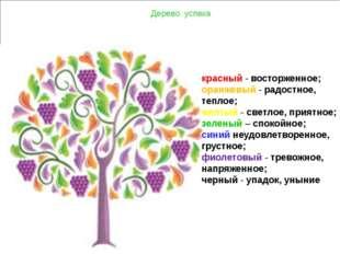 Дерево успеха красный- восторженное; оранжевый- радостное, теплое; желтый