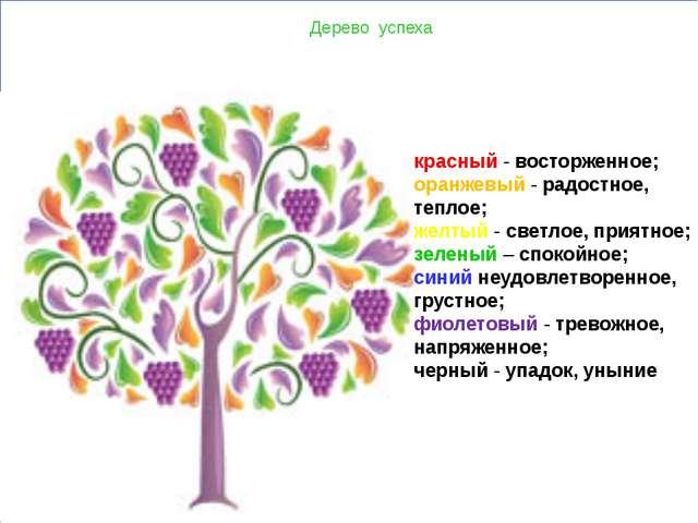 Дерево успеха красный- восторженное; оранжевый- радостное, теплое; желтый...