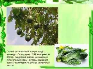Самый питательный в мире плод - авокадо. Он содержит 741 калорию на 300 гр. с