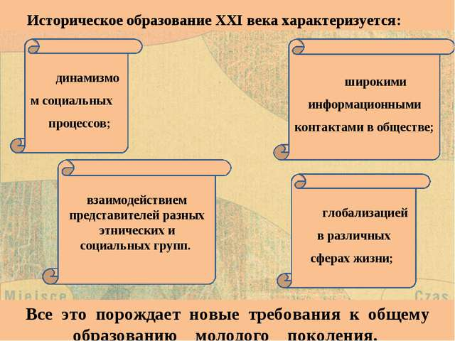 Историческое образование XXI века характеризуется: Все это порождает новые тр...
