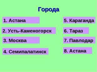 Города 3. Москва 2. Усть-Каменогорск 1. Астана 4. Семипалатинск 5. Караганда