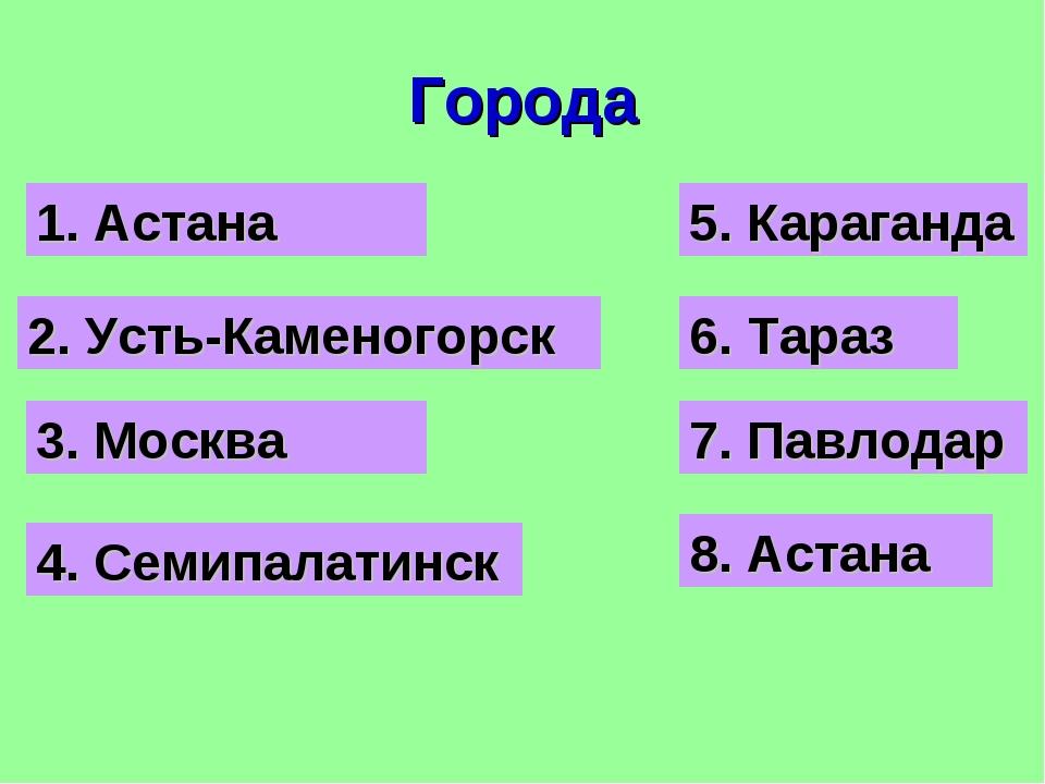 Города 3. Москва 2. Усть-Каменогорск 1. Астана 4. Семипалатинск 5. Караганда...