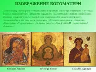 ИЗОБРАЖЕНИЕ БОГОМАТЕРИ Необычайным разнообразием отличались типы изображения