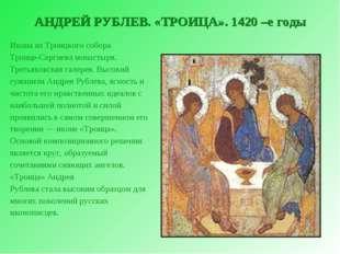 АНДРЕЙ РУБЛЕВ. «ТРОИЦА». 1420 –е годы Икона из Троицкого собора Троице-Сергие