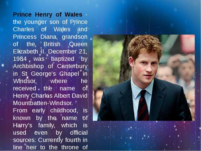Prince Henry of Wales - the younger son of Prince Charles of Wales and Princ...