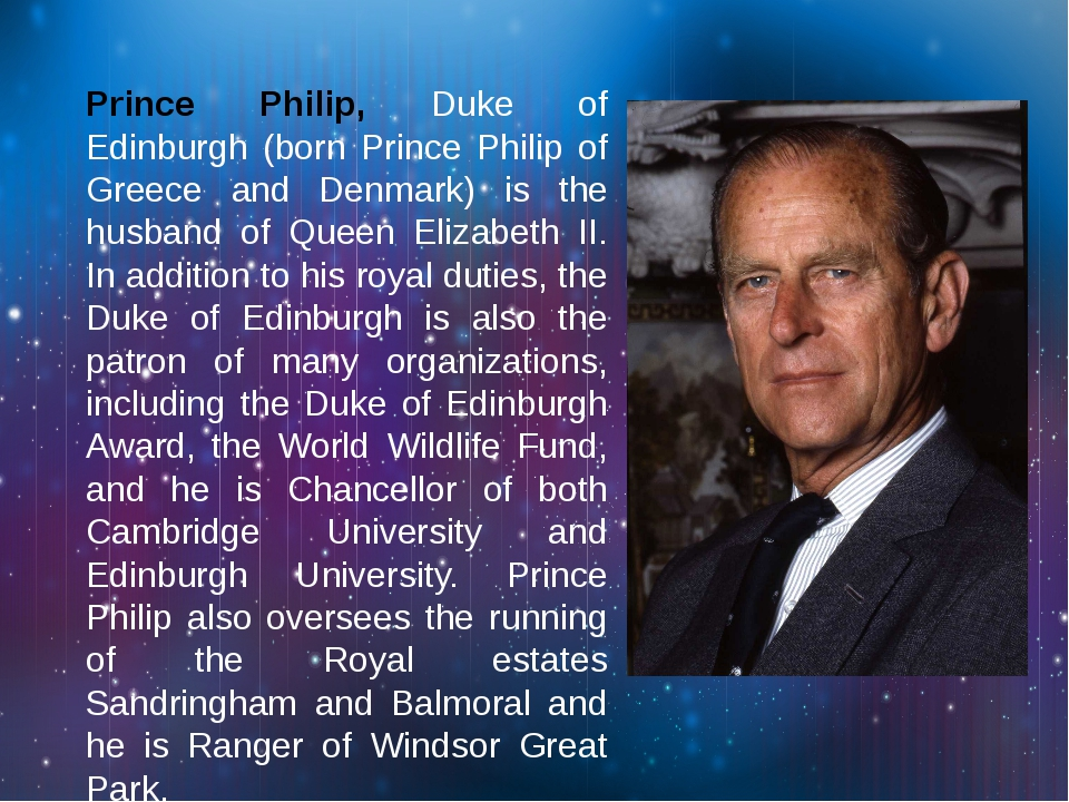 Prince Philip, Duke of Edinburgh (born Prince Philip of Greece and Denmark)...