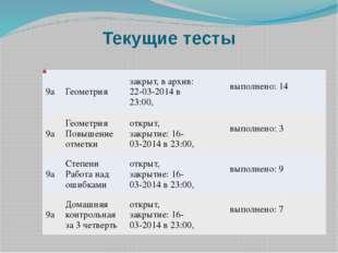 Текущие тесты 9а Геометрия закрыт, в архив: 22-03-2014 в 23:00,   вы