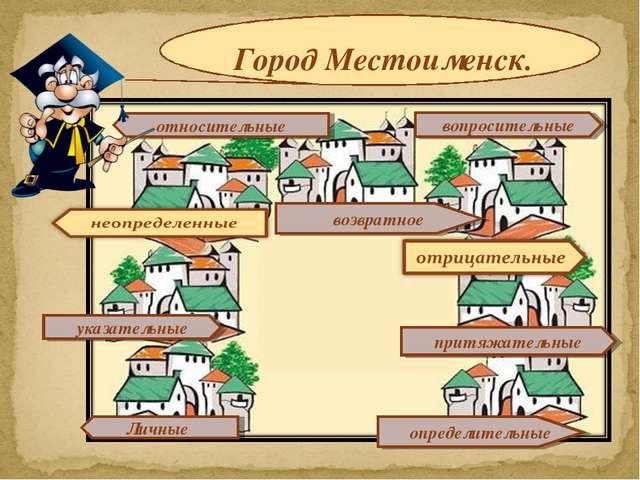 Город Местоименск. относительные притяжательные вопросительные определительны...