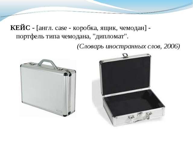 "КЕЙС - [англ. case - коробка, ящик, чемодан] - портфель типа чемодана, ""дипло..."
