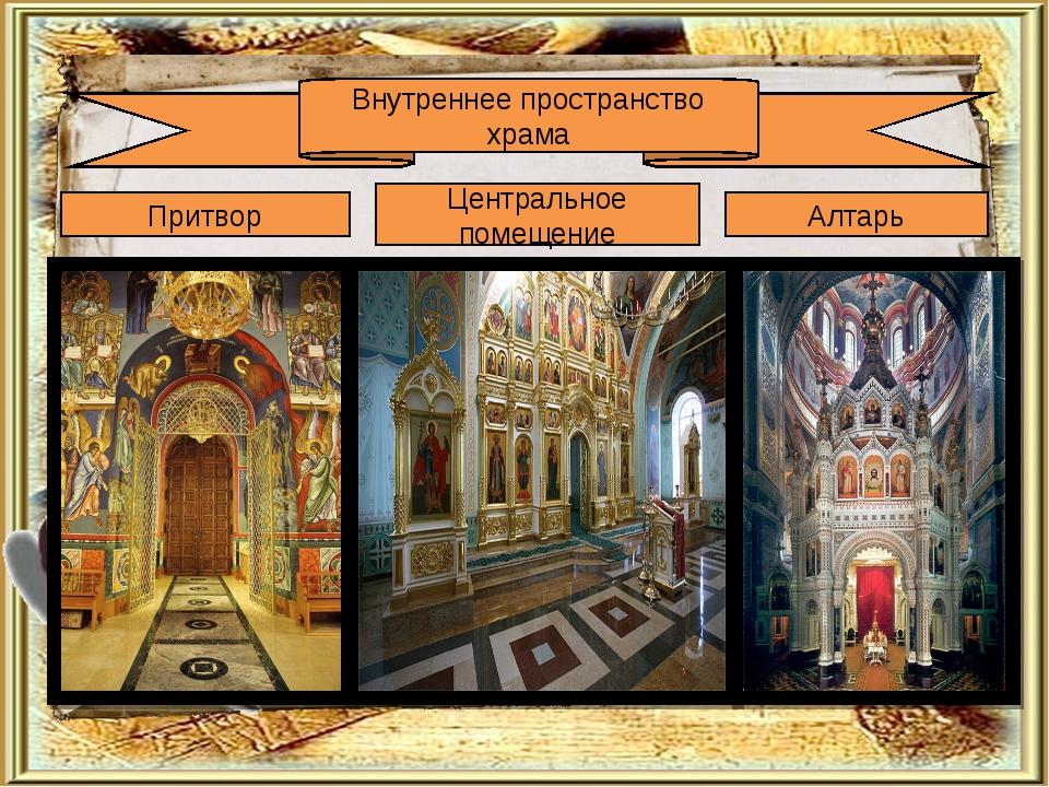Внутреннее пространство храма Притвор Центральное помещение Алтарь