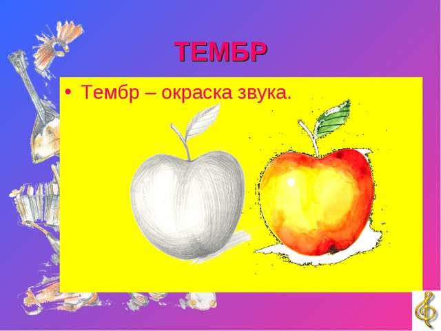 ТЕМБР Тембр – окраска звука.