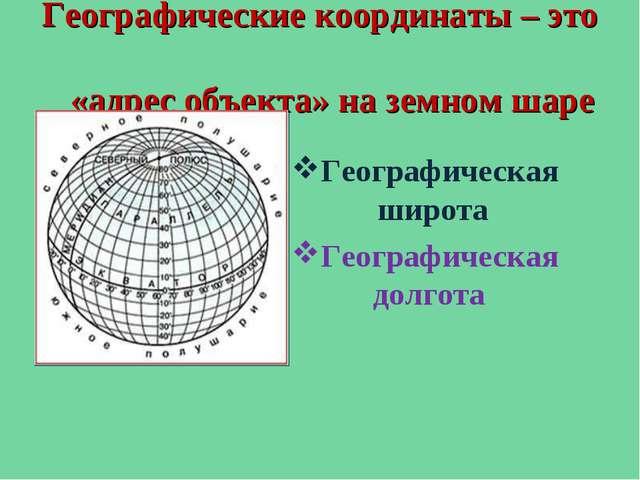 Географические координаты – это «адрес объекта» на земном шаре Географическая...