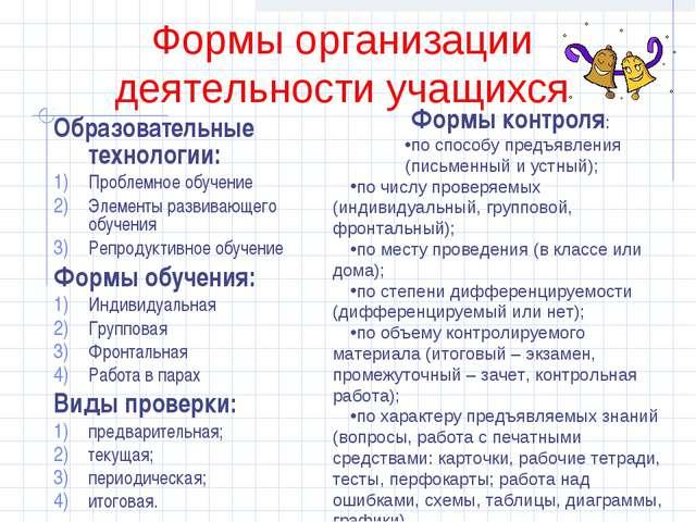 Формы организации деятельности учащихся Образовательные технологии: Проблемно...