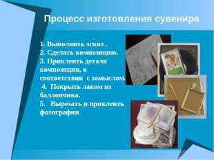Процесс изготовления сувенира 1. Выполнить эскиз . 2. Сделать композицию. 3.