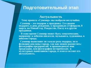 Подготовительный этап Актуальность Тему проекта «Сувенир» мы выбрали неслуча