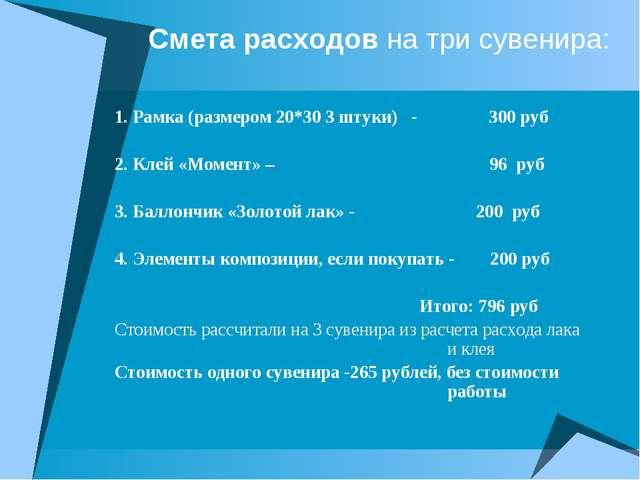 Смета расходов на три сувенира: 1. Рамка (размером 20*30 3 штуки) - 300 руб 2...