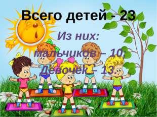 Всего детей - 23 Из них: мальчиков – 10; Девочек – 13.
