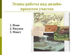 Этапы работы над дизайн- проектом участка 1. План 2. Рисунок 3. Макет