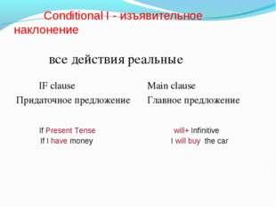 Conditional I - изъявительное наклонение все действия реальные IF clause Mai