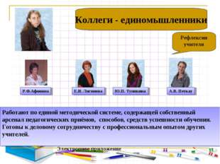 ): Рефлексия учителя Коллеги - единомышленники Работают по единой методическ