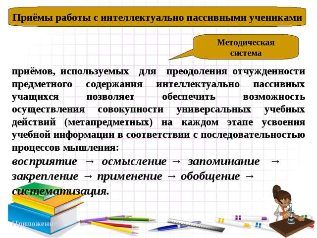Приёмы работы с интеллектуально пассивными учениками Методическая система при...