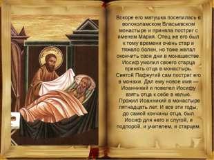 Вскоре его матушка поселилась в волоколамском Власьевском монастыре и приняла