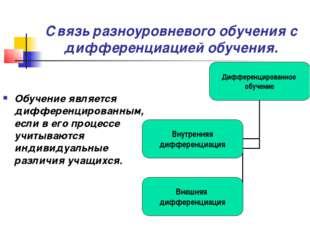 Связь разноуровневого обучения с дифференциацией обучения. Обучение является