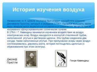 История изучения воздуха Джозеф Пристли Генри Кавендиш Независимо от К. Шееле