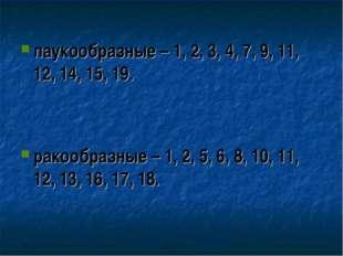 паукообразные – 1, 2, 3, 4, 7, 9, 11, 12, 14, 15, 19.   ракообр