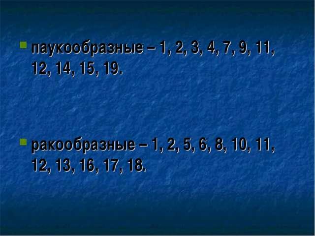 паукообразные – 1, 2, 3, 4, 7, 9, 11, 12, 14, 15, 19.   ракообр...