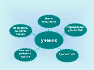 ученик Мини- испытания Определение уровня ЗУН Показатель качества знаний Д